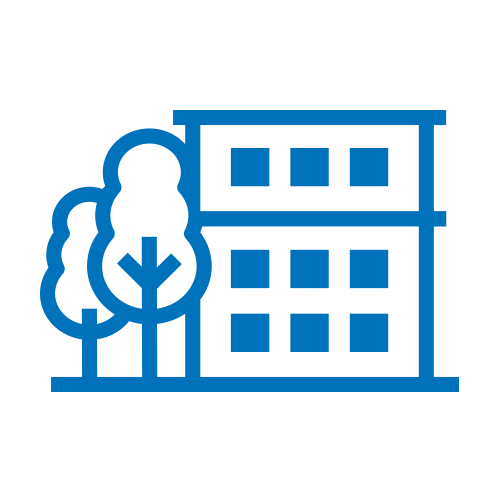 Blue office building with 2 trees icon
