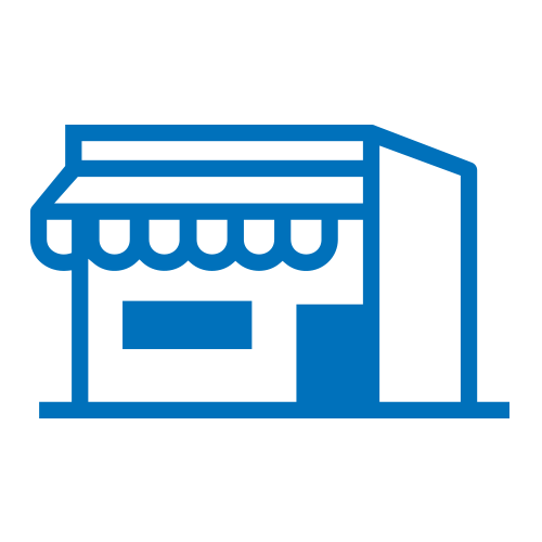 Blue retail storefront building icon