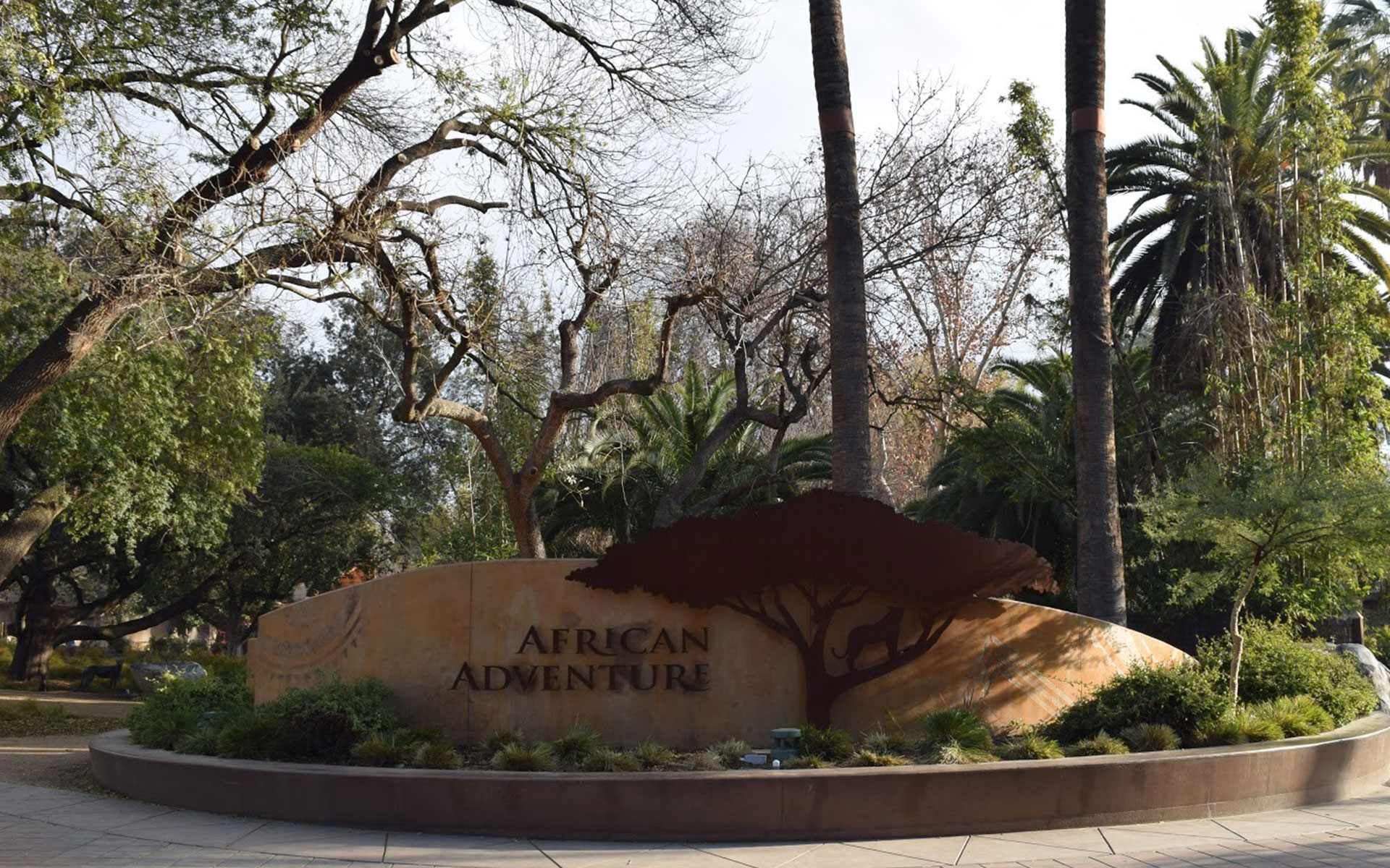 African Adventure sign and landscaping