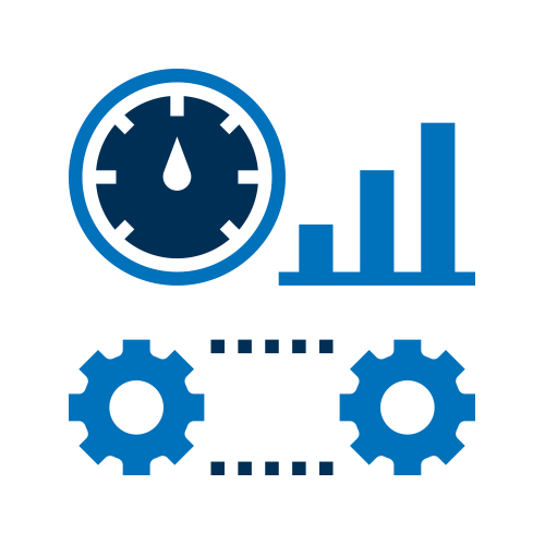 Blue gears and stats icon