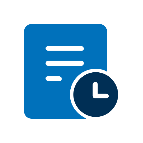 Blue document with clock icon