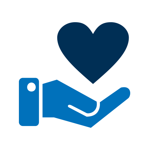 Blue hand holding heart icon