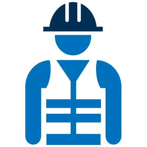 Blue worker wearing helmet icon