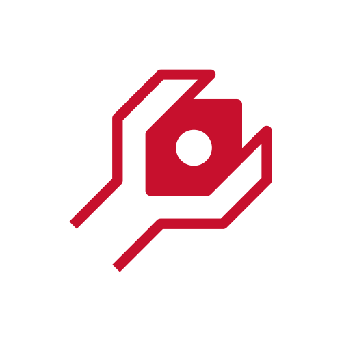 Red wrench twisting bolt icon