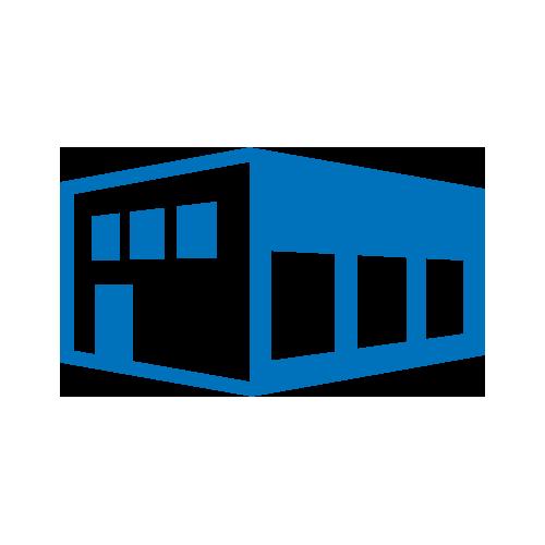 Blue warehouse icon