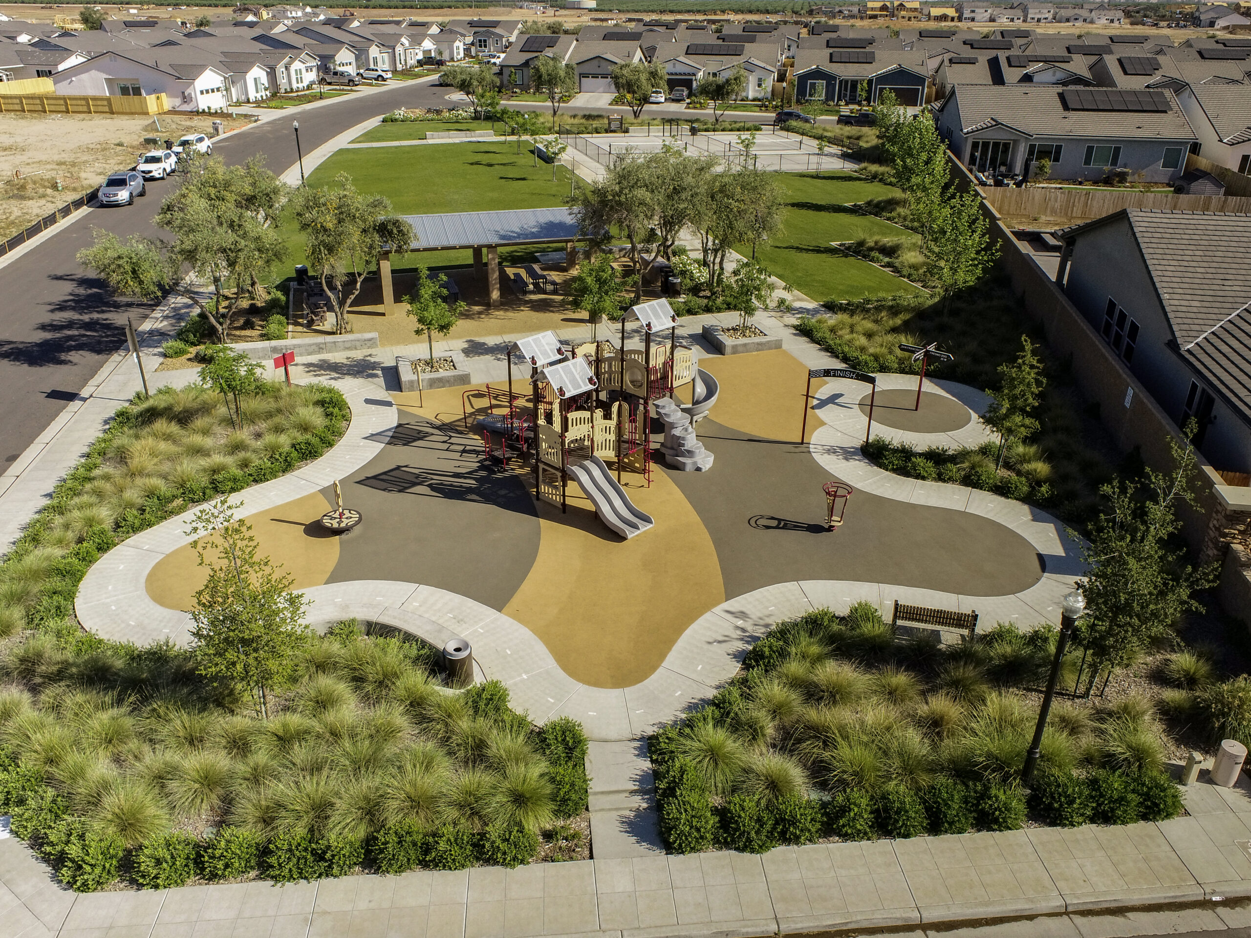 Aerial view of new park and landscaping
